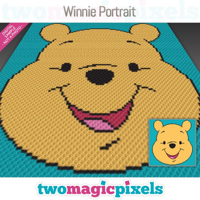 Winnie Portrait crochet graph (C2C, Mini C2C, SC, HDC, DC, TSS), cross stitch;
