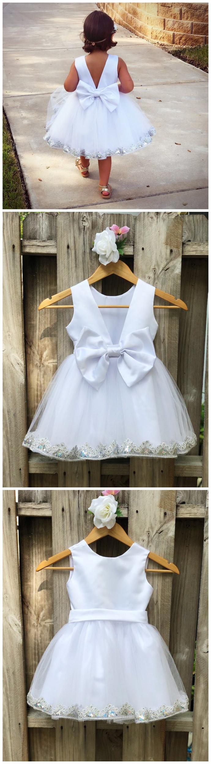 White Flower Girl Dress, White Tulle Flower Girl Dresses, White Flower Girl