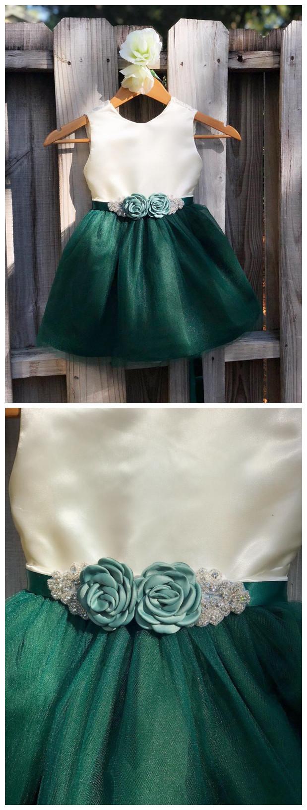 Hunter Green Flower Girl Dress Rhinestone, Forest Green Flower Sash Elegant