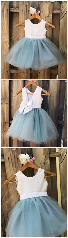Dusty Blue Flower Girl Dress, Light Blue Flower Girl Dresses, Satin Tulle Party