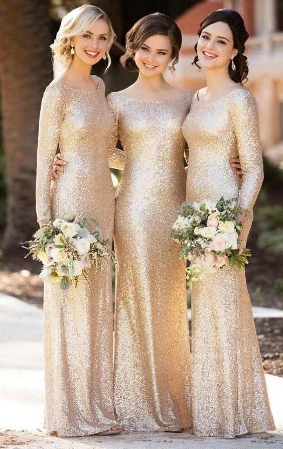 Long Sleeves Sequin Maxi Bridesmaid Dress Rose Gold Formal Evening