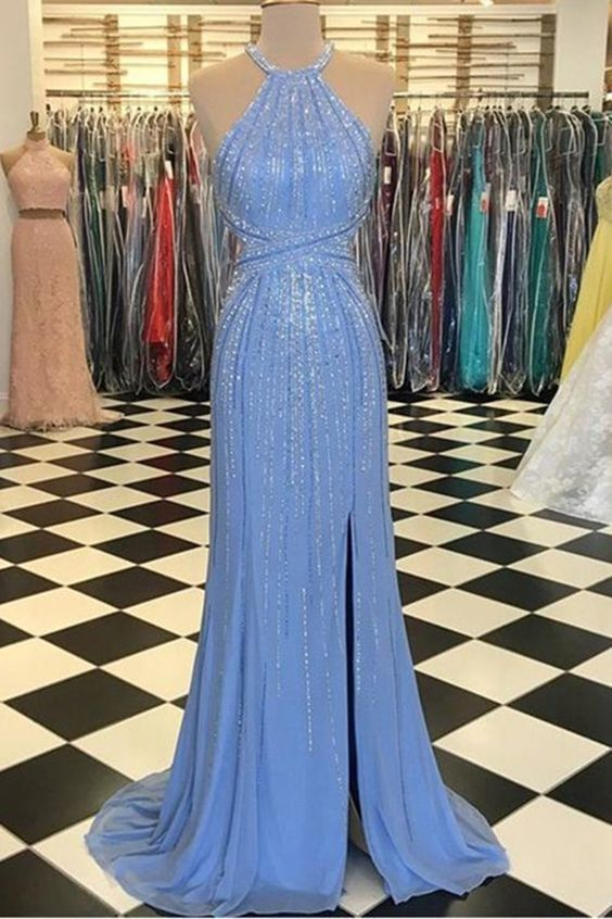 Mermaid Evening Gowns with Beading Halter Blue Long Prom Dresses Split