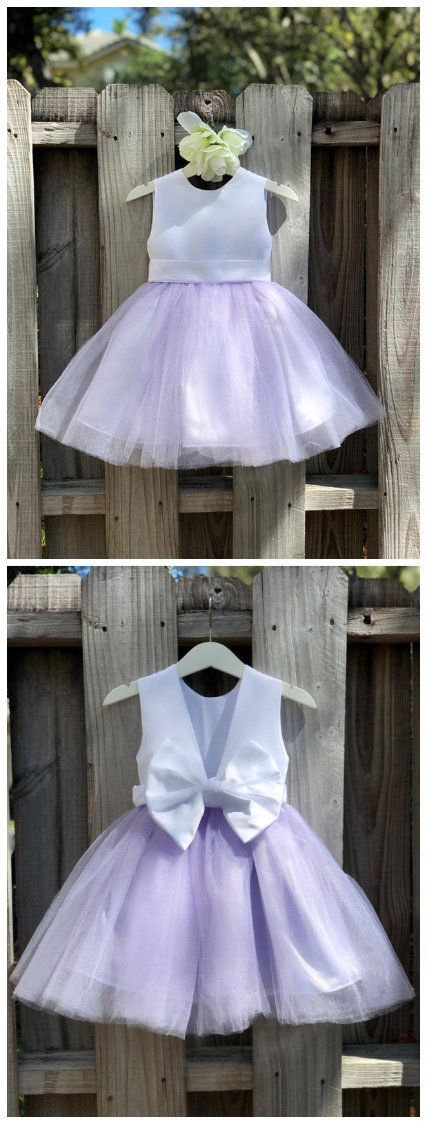 Lilac Flower Girl Dress, Lilac Flower Girl Dress Elegant Satin Tulle Flower Girl