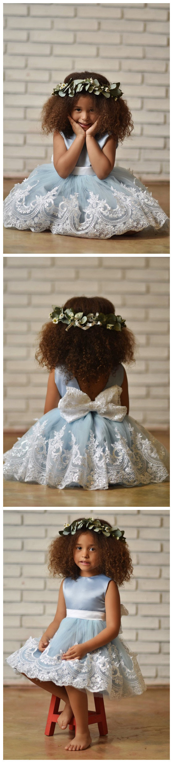 Blue Flower Girl Dress, Baby Blue Birthday Gir Dresses with Embroidered Lace