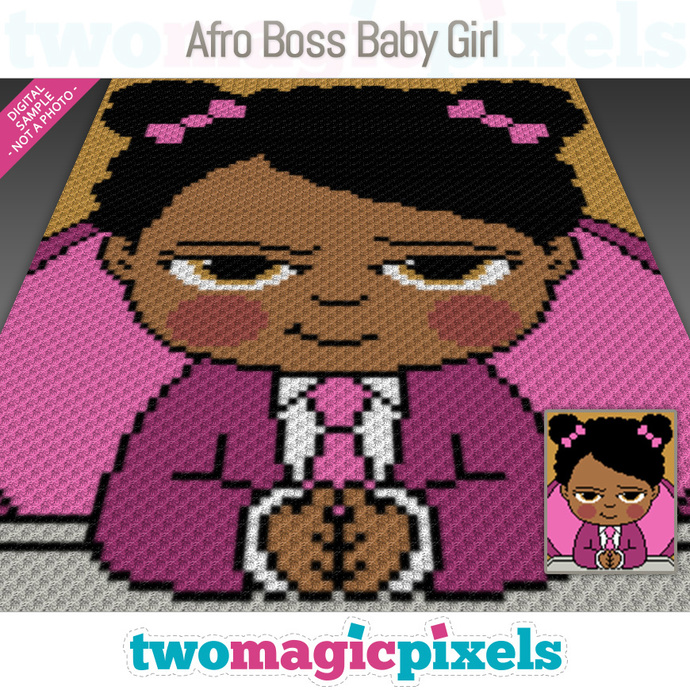 Afro Boss Baby Girl Crochet Graph C2c Mini C2c Sc Hdc Dc Tss Cross Stitch Knitting Pdf Download No Counts Instructions