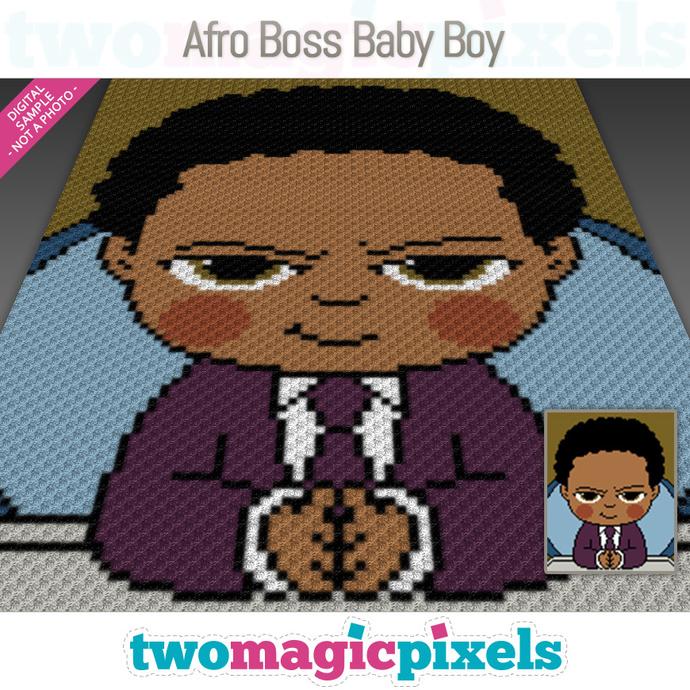Afro Boss Baby Boy crochet graph (C2C, Mini C2C, SC, HDC, DC, TSS), cross