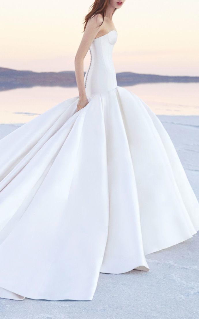 Romantic White Wedding Dress,Strapless Bridal Dress,Sleeveless Simple Style