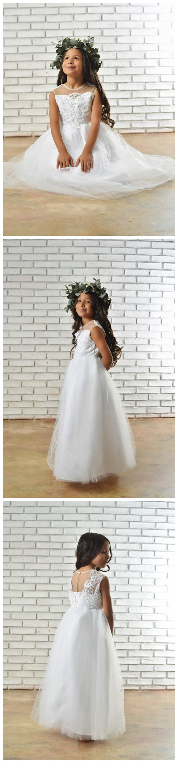 White Flower Girl Dress made with tulle, Satin and embroidered lace. White