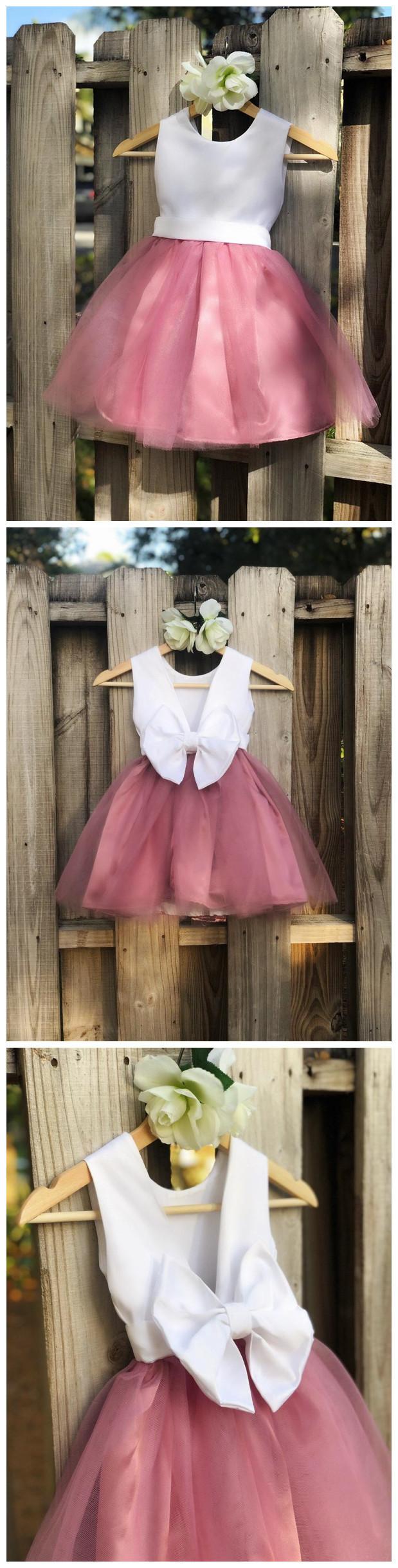 Dusty Rose Flower Girl Dress, Mauve Flower Girl Dress Elegant Satin Tulle Flower