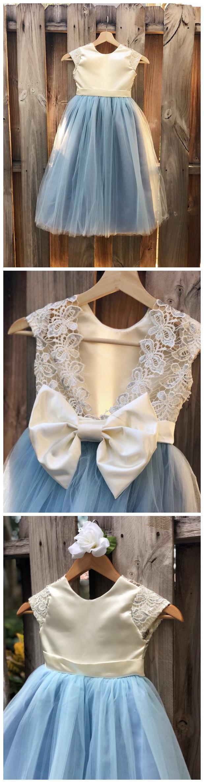 Dusty Blue Flower Girl Dress, Floor Length Dusty Blue Satin and Lace Flower Girl