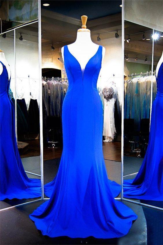 Sexy Mermaid Plunging Neckline Royal Blue Satin Evening Prom Dress