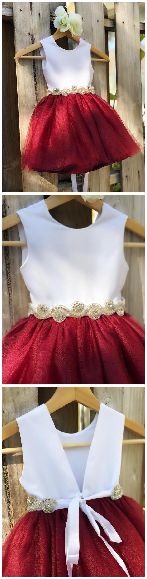 Burgundy Flower Girl Dress with Rhinestone Sash. Elegant Satin Tulle Flower Girl