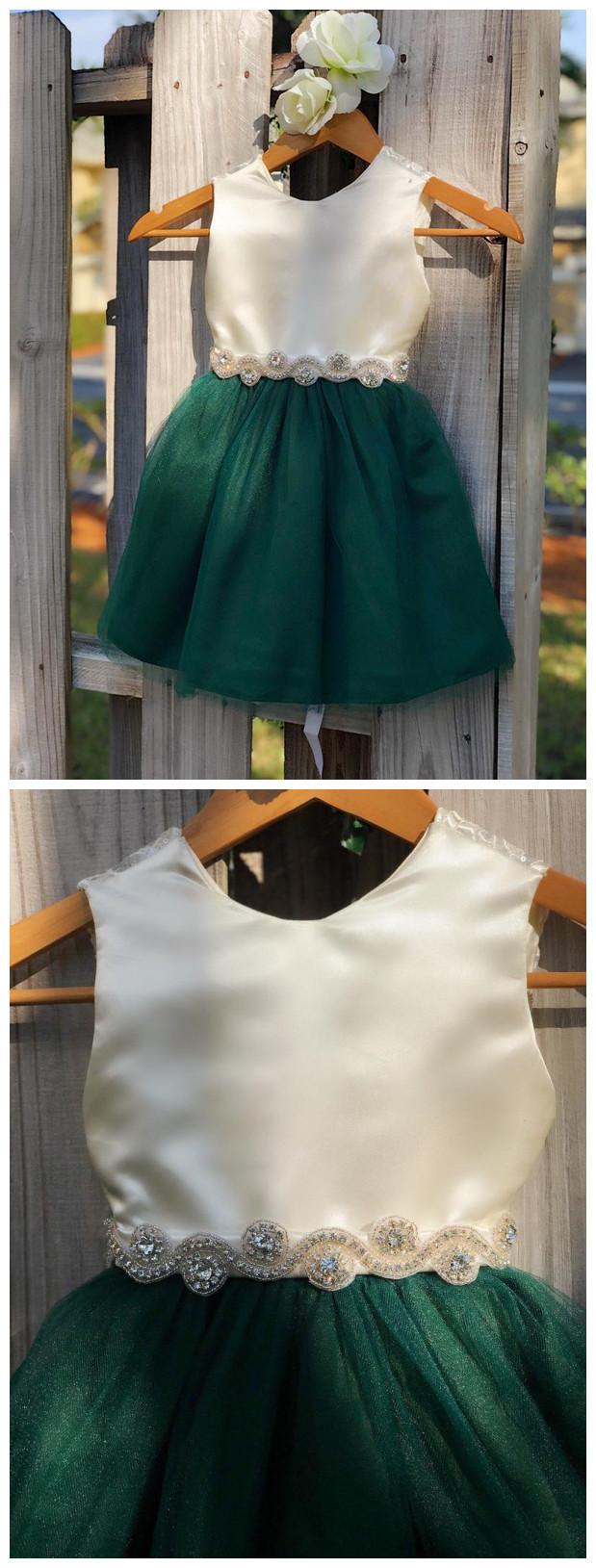 Hunter Green Flower Girl Dresses with Rhinestone Sash. Elegant Ivory Satin and