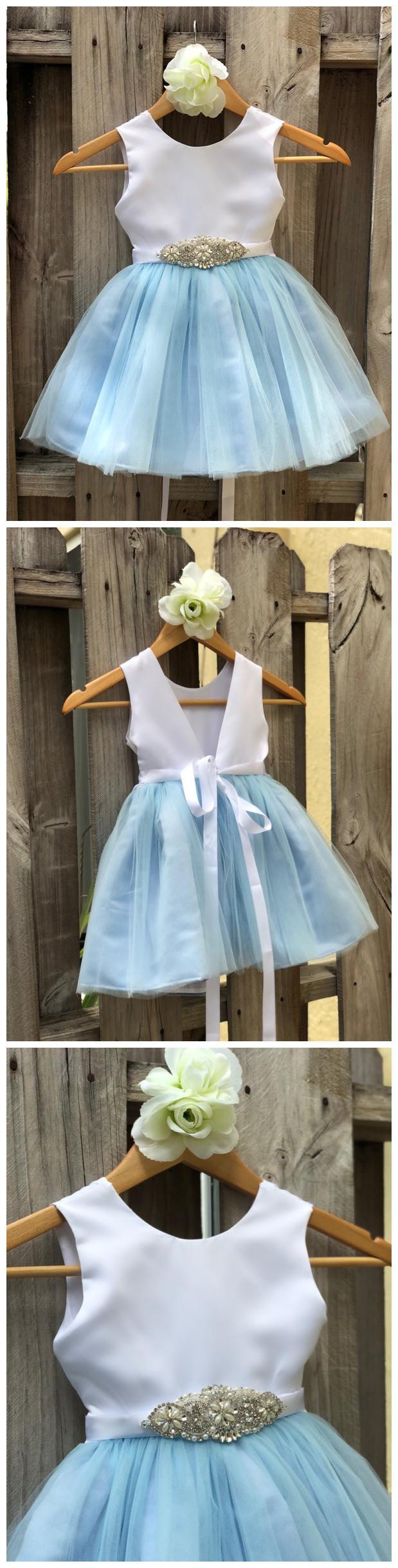 Dusty Blue Flower Girl Dress Rhinestone Flower Sash Elegant Satin Tulle Flower