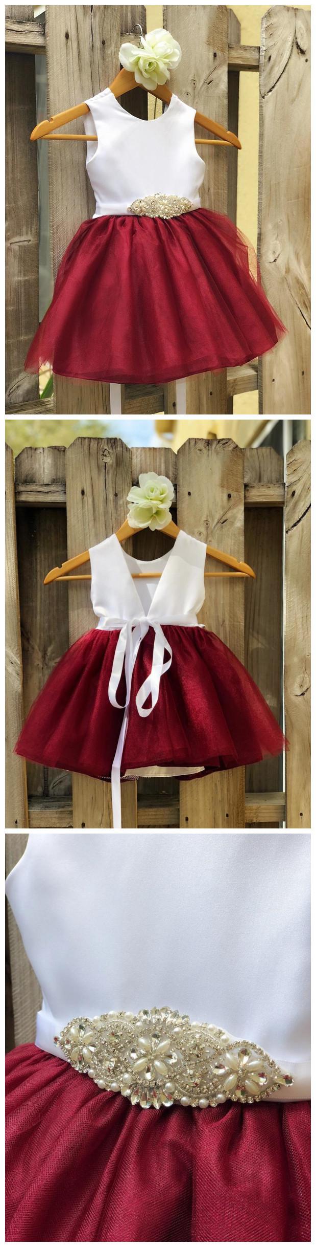 Burgundy Flower Girl Dress Rhinestone Flower Sash Elegant Satin Tulle Flower