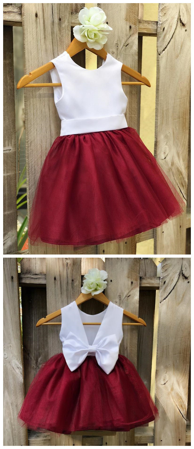 Burgundy Flower Girl Dress, Elegant White Satin and Burgundy Tulle Flower Girl