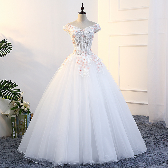 Gorgeous White Tulle Off Shoulder Floor Length Sweet 16 Dress, Party Gown 2019