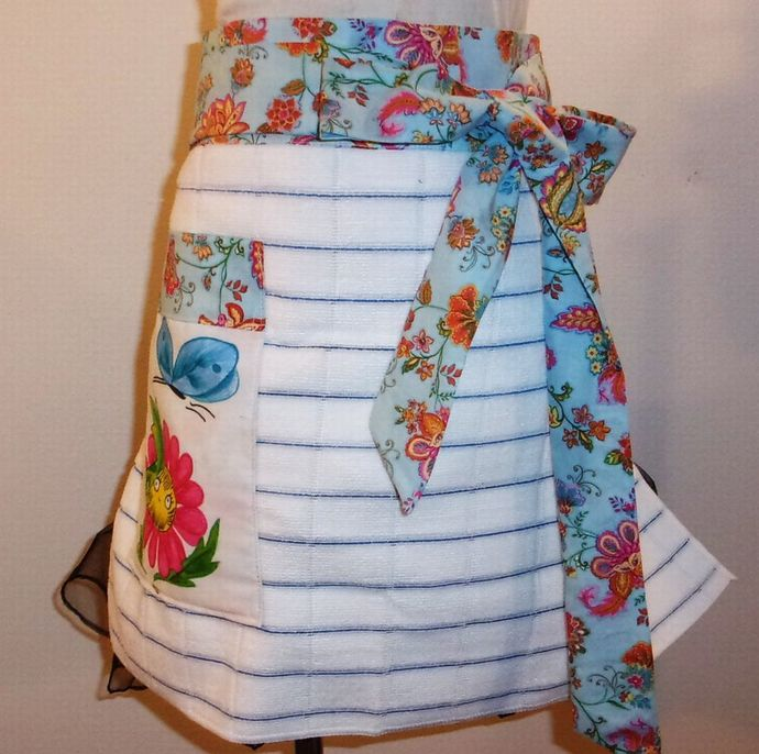 Woman's Apron, Blue Stripe Towel Apron, Half Apron, Gift for Mom, Hand Painted