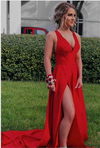 Charming V-Neck Prom Dresses,Long Prom Dresses,Cheap Prom Dresses, Evening Dress