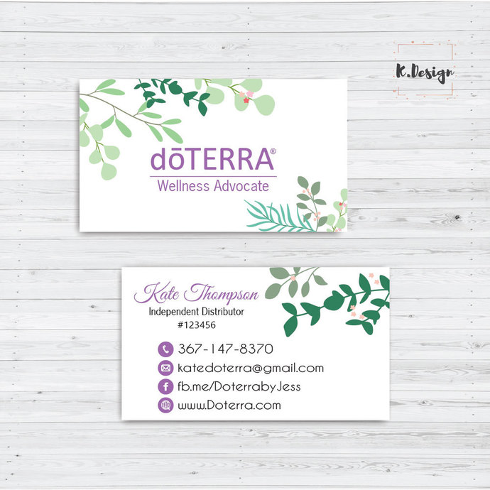 Doterra Business Cards, Personalized Doterra Business Card, Essential Oil card,