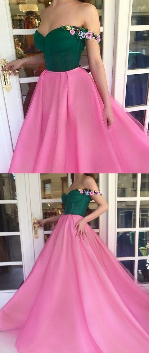 Sexy Flower Tulle Long Prom Dress, Off-the-Shoulder Long Evening Dress