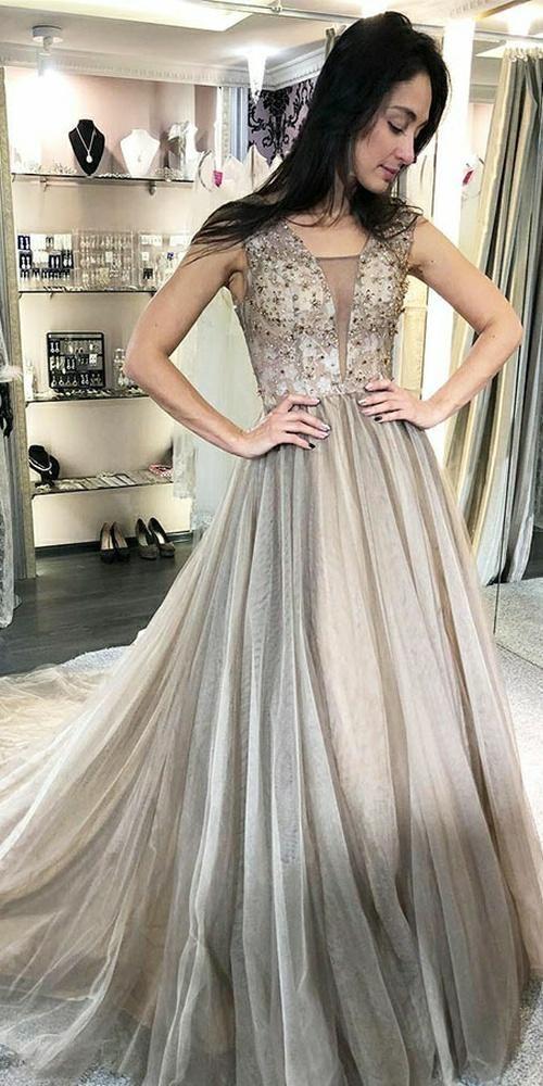 60baf2ccdd V-Neck Beaded Long Prom Dress Custom Made Tulle Beadings School Dance  Dresses