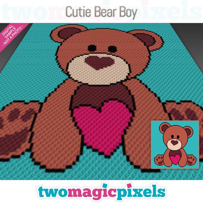 Cutie Bear Boy crochet graph (C2C, Mini C2C, SC, HDC, DC, TSS), cross stitch;