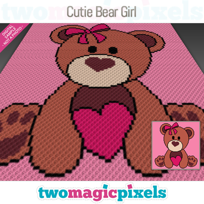 Cutie Bear Girl crochet graph (C2C, Mini C2C, SC, HDC, DC, TSS), cross stitch;