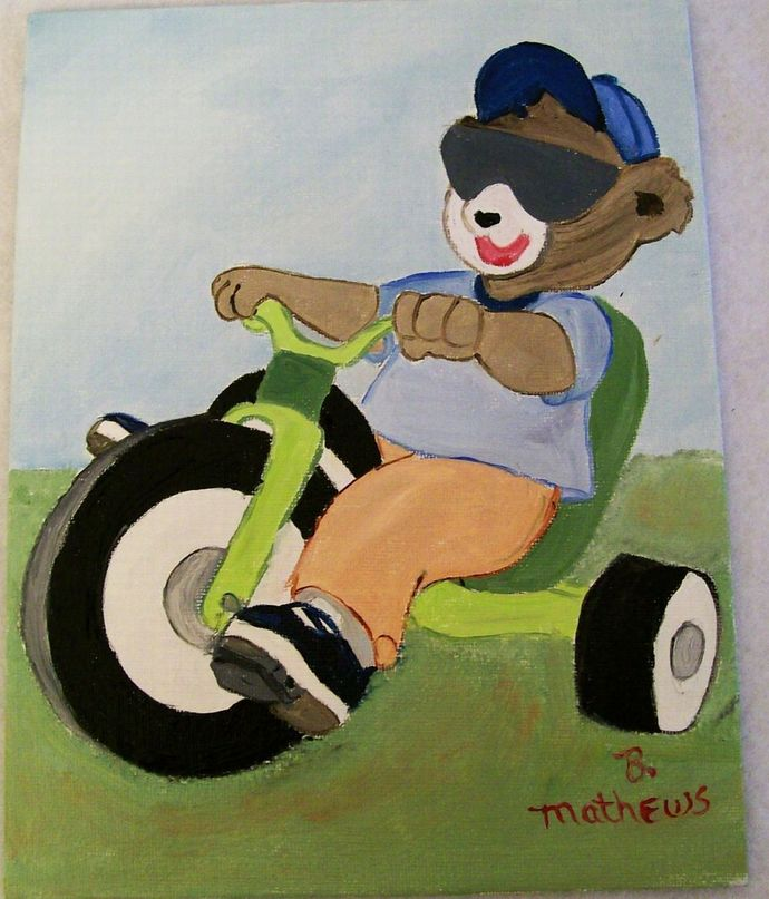 Bear on a Tricycle , Kids Wall Hanging, 7x9 Canvas Board Oil Painting for a kids