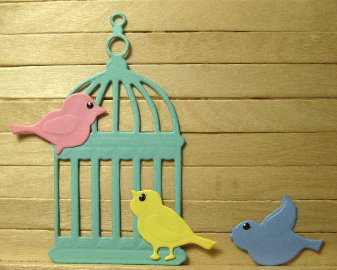 Three Birds and a Birdcage Cutting Die Set