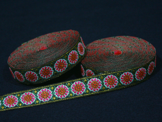 2cm x 1 m • Pink/Orange/Green/Gold/White Flower Pattern Traditional Hmong Fabric
