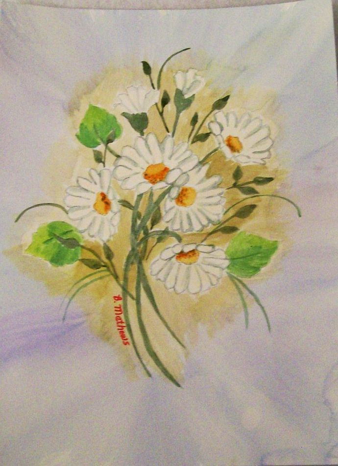 White Daisies Watercolor Painting, Original, Still Life Watercolor, Hand