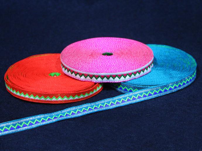 1 cm x 1 m • Silver/Blue/Orange/Pink Zig-zag Fabric Trim Ribbon