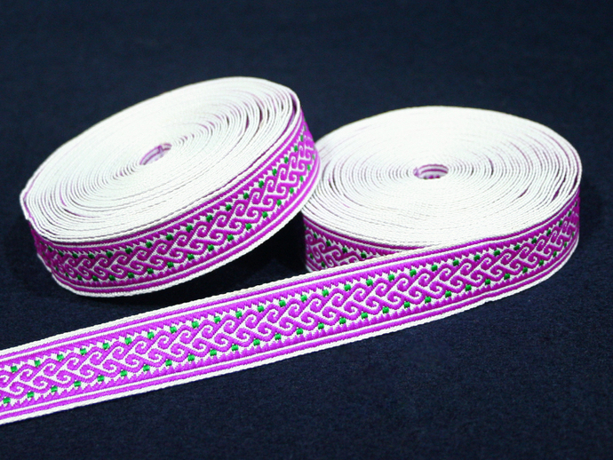 2cm x 1 m • Purple/Green Traditional Pattern Fabric Trim Ribbon