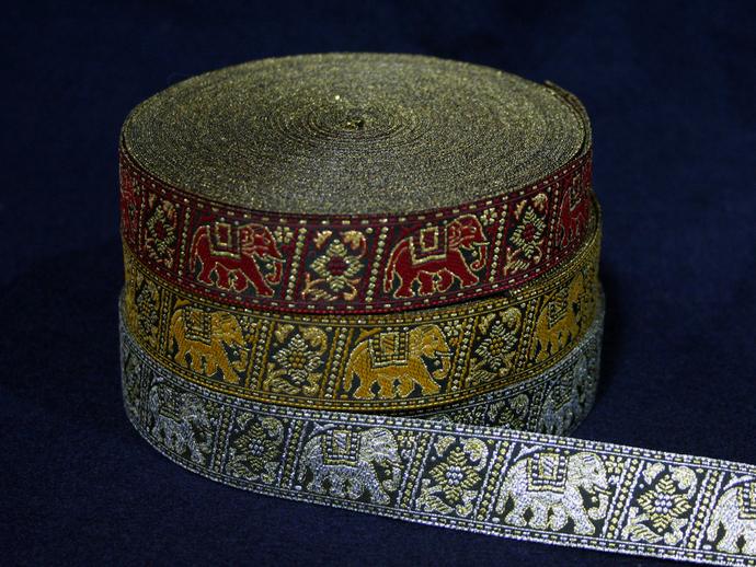 2.5cm x 1 m • Red/Yellow/Silver Traditional Thai Elephant Fabric Trim Ribbon
