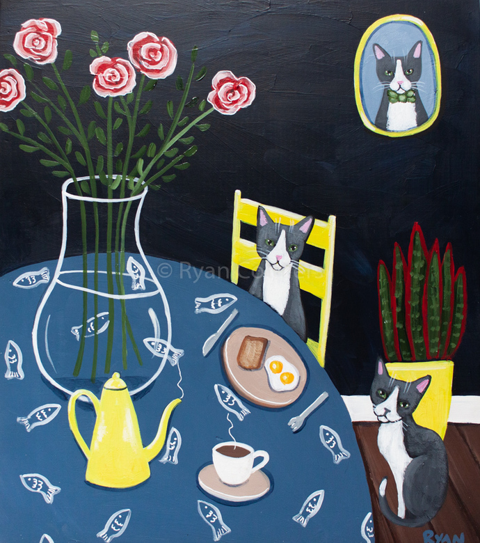 Breakfast with Coffee Cats Original Cat Folk Art Painting