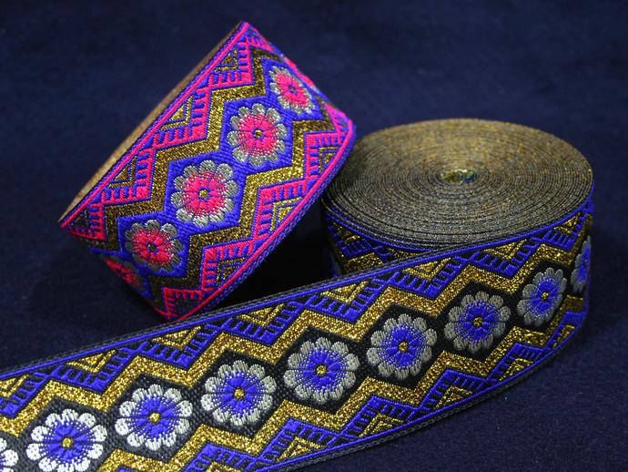 5cm x 1 m • Blue/Pink/White/Gold Flower Hmong Pattern Traditional Trim Ribbon