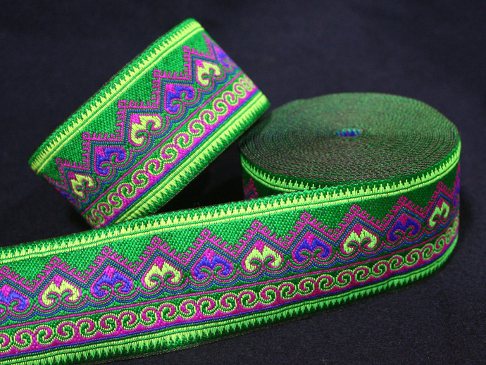 5cm x 1 m • Green Traditional Wave Pattern Fabric Trim Ribbon