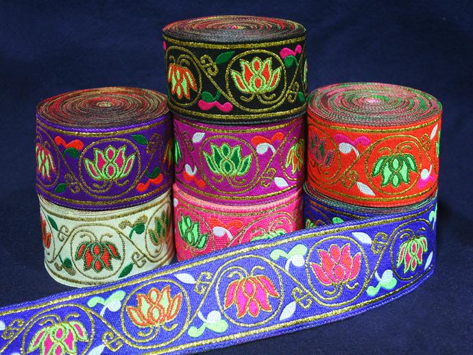 5cm x 1 m • Black/White/Pink/Orange/Purple/Violet/Blue Flower Pattern Trim