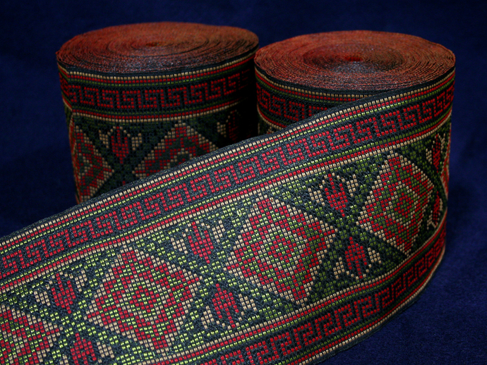 10 cm x 1 m • Gold/Red/Orange Traditional Hmong Square Pattern Fabric Trim