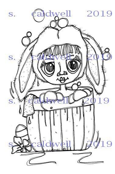 2870 Bath Basket Bunny Digi Stamp