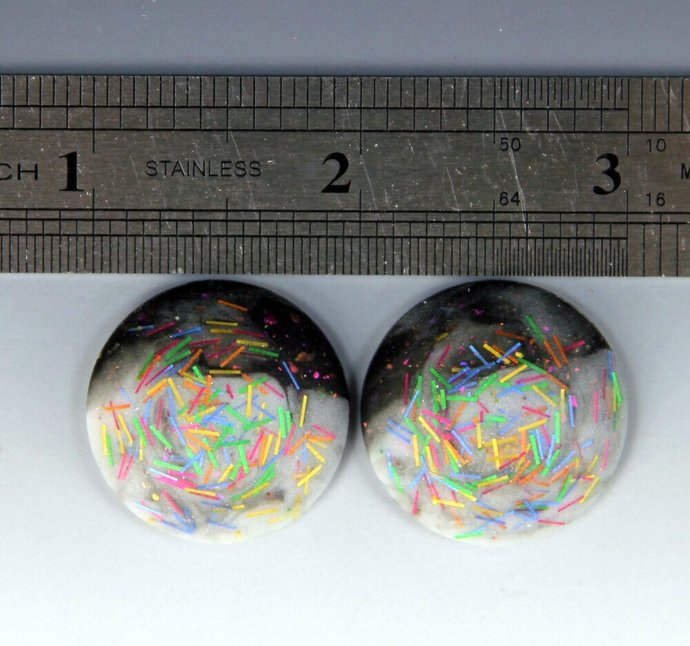 """1"""" Diameter Matched Pair Round Cabochons - Black & White"""