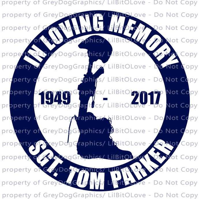 In Memory with Field Cross Vinyl Decal Sticker - Personalize with Name and Dates