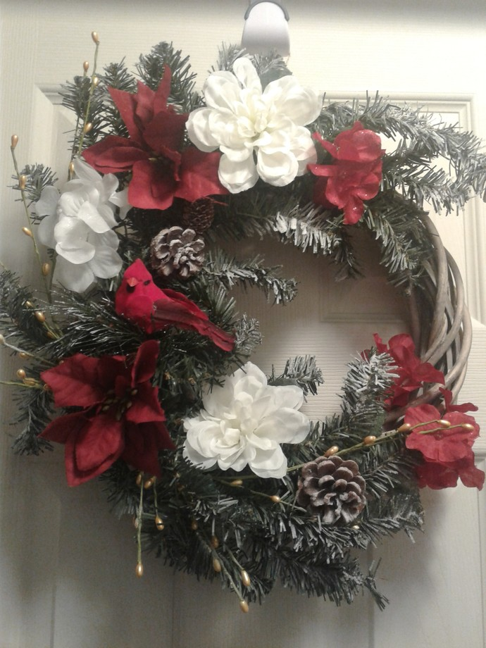Christmas Wreath with Cardinal and Flowers