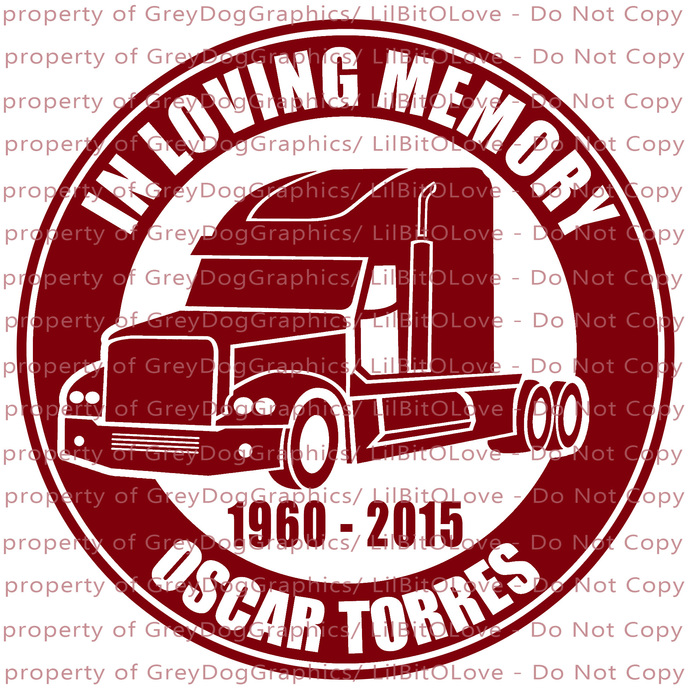 In Memory Semi Truck Driver Vinyl Decal Sticker - Personalize with Name and