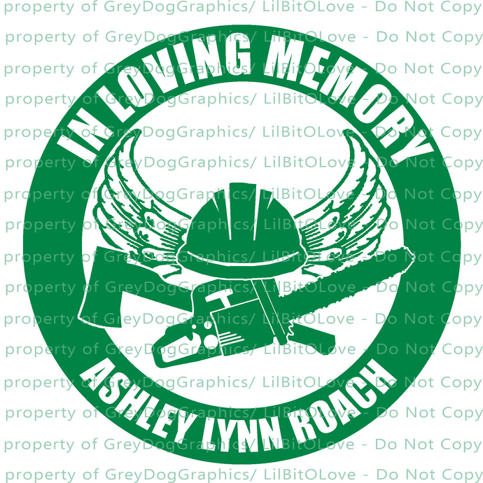 In Memory with Logger Logging Chainsaw Axe Vinyl Decal Sticker - Personalize