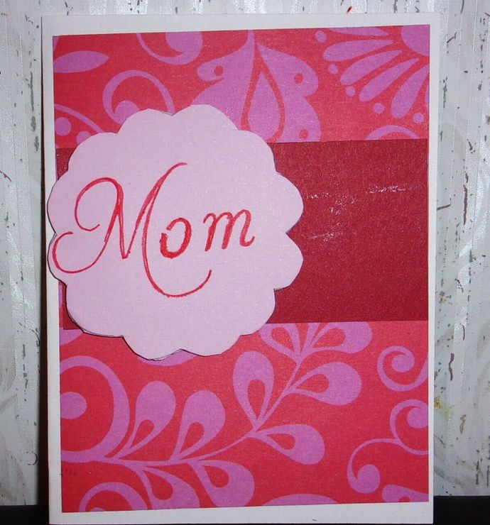 Handmade Greeting Card. Mother's Day Card, Red Mom Greeting Card, Card for Mom,