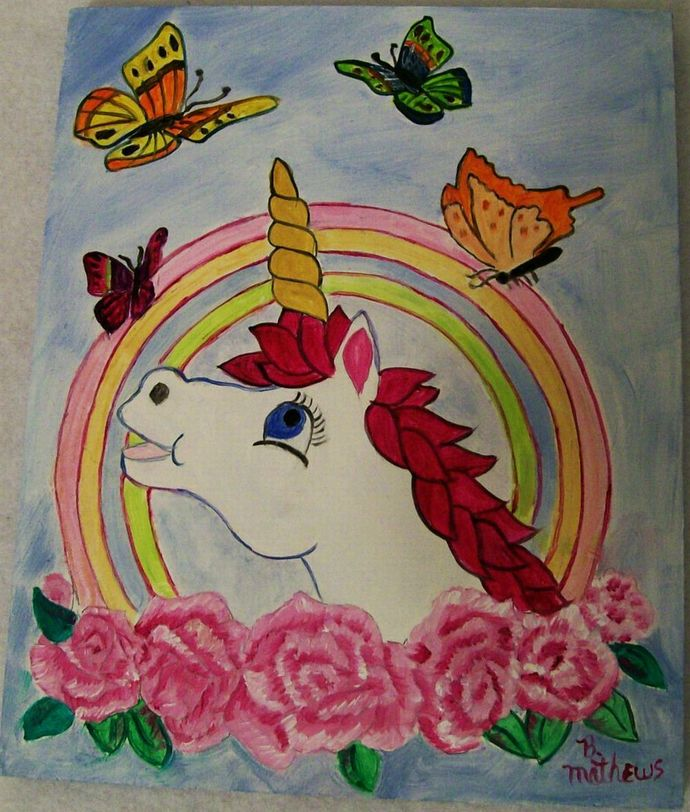 Unicorn and Butterflies , Kids Wall Hanging, 8x10 Wood Plaque, Oil Painting for