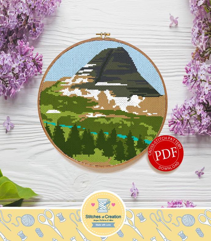 Bearhat Mountain Montana | Digital Download | Round Cross Stitch Pattern |