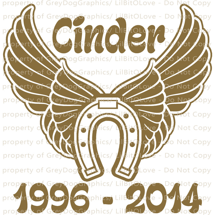 Memorial Horseshoe with wings horse Vinyl Decal with dates and name equestrian